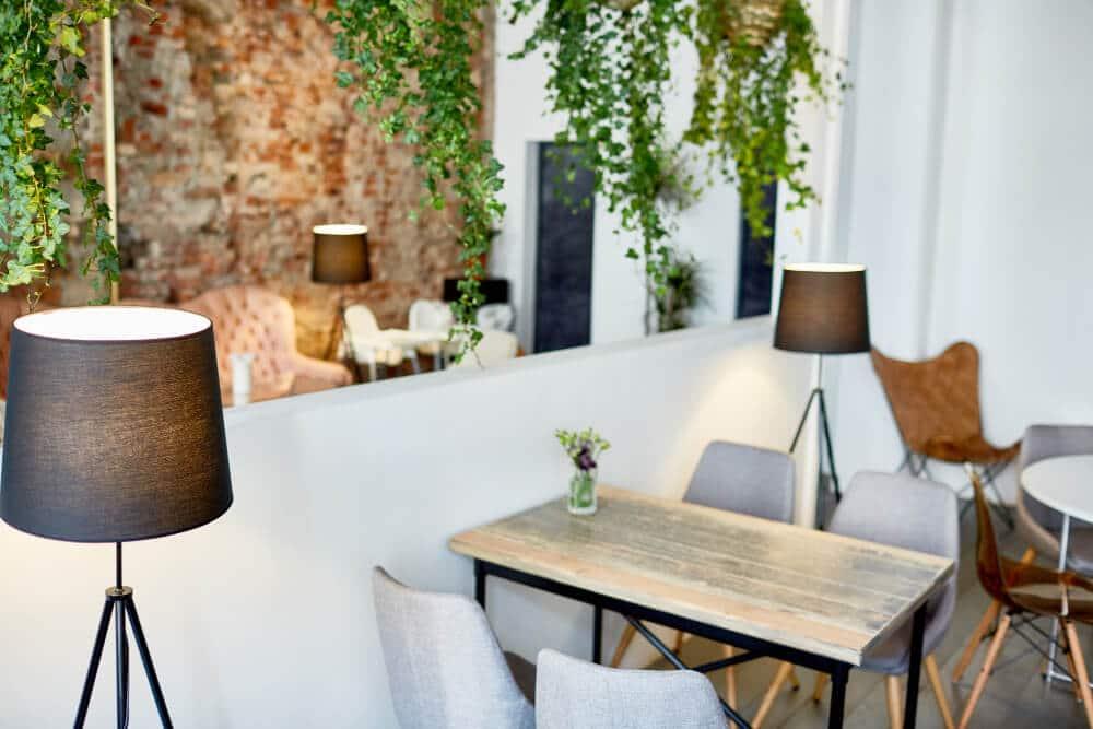 עיצוב בית קפה עם צמחיה נשפכת