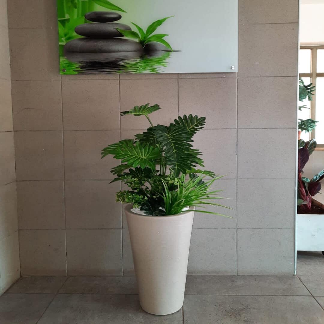 קוקטייל צמחים כד לבן