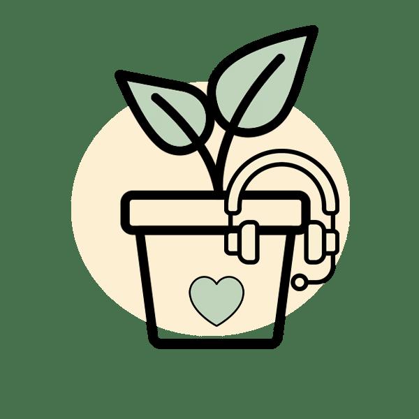 אייקון שירות לקוחות עם צמח
